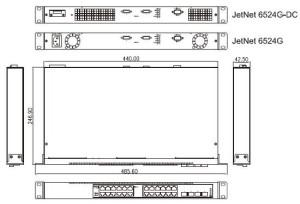 industrial ethernet switch JetNet6524G_dimension